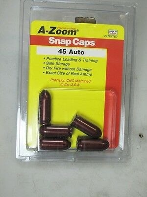 45 ACP Auto A-ZOOM  Pack of 5 SNAP CAPS -Solid Anozidized Dummy-Training Ammo