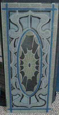 Stained Glass Window Pane 9.5 x 22.5 light and dark blue