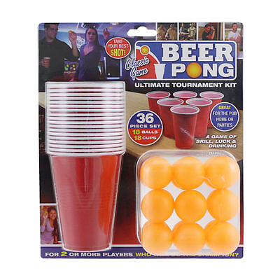 36pc Beer Pong Drinking Game Set Cups Balls Party Pub Gift Kit Ping Great Fun