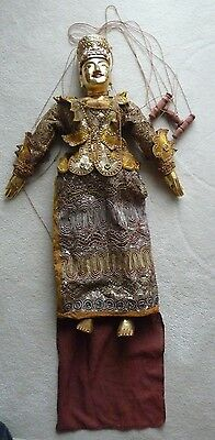 "Burmese Wooden Puppet (28"" head to toe) with Golden Finish"