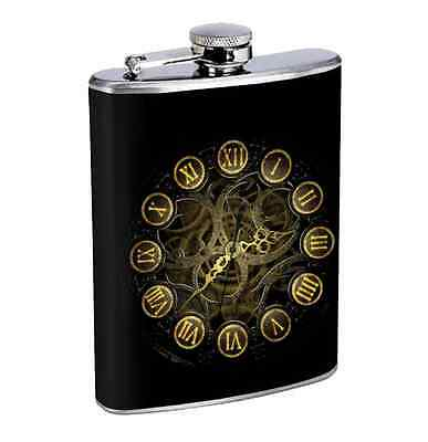 Steampunk Clock 8oz Stainless Steel Flask Drinking Whiskey