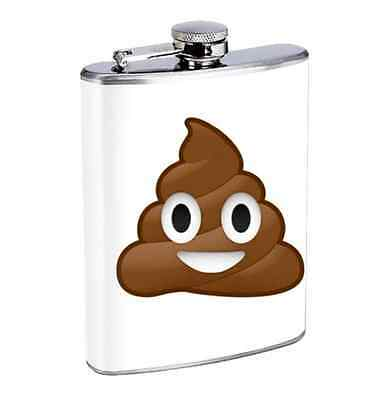 Poop Emoji Funny 8oz Stainless Steel Flask Drinking Whiskey
