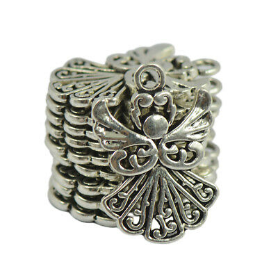 50pcs Alloy Filigree Hollow out Angel Charms Pendant Jewelry DIY Crafts Bulk