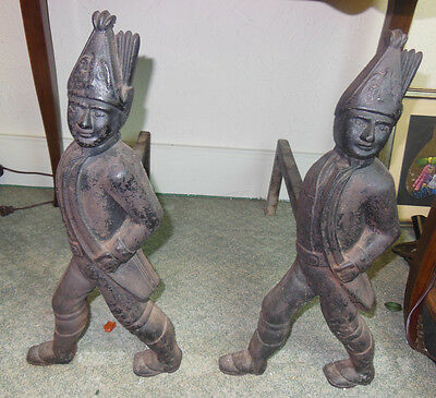 Antique Pair Of Hessian Soldiers Andirons From Cast Iron  With Support Legs