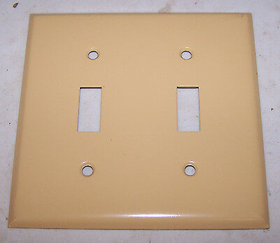 Vintage Brass painted Ivory 2 Gang Double SWITCH COVER