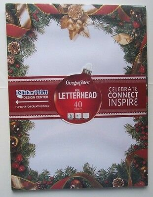 Geographics Christmas Letterhead Stationery Wreath Inkjet Laser Copy 40 Sheets