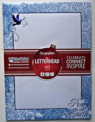 Geographics Christmas Letterhead Stationery Peace Inkjet Laser Copy 40 Sheets