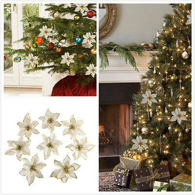 10 X Ivory & Gold Artificial Glitter Flower Christmas Tree Ornaments Decorations
