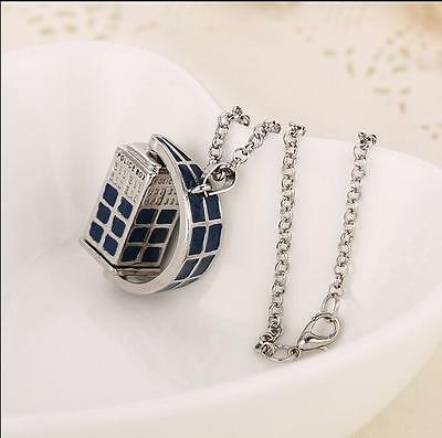 Doctor Who 3D TARDIS Police Box Pewter Tall Pendant Antique Blue Necklaces