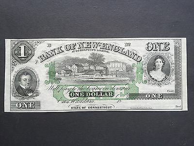 USA America One 1 Dollar Bank New England Goodspeed's Landing Connecticut UNC