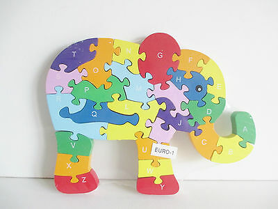 Wooden jigsaw/puzzle elephant with numbers and letters,colorful educational toy