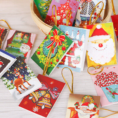 10x Merry Christmas Greeting Cards Best Wishes Christmas Tree Hanging Decoration