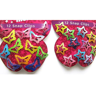 12pcs Star Butterfly Hair Clips Snaps For Girls Baby Kids Head Accessories Gift
