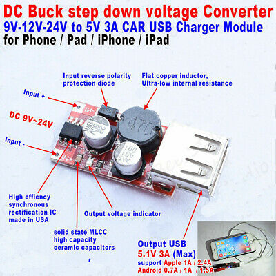 DC-DC 9V/12V/24V/36V to 5V 2A USB Step Down Converter Charger for Car Batterie