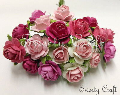 50 Mix Pink Mulberry Paper Rose Flower handmade size 1.5 cm. (15mm) card