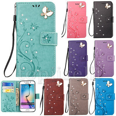 Fashion 3D Bling Strass Flip PU Leather Card Pocket Stand Lot Case Cover Bumper
