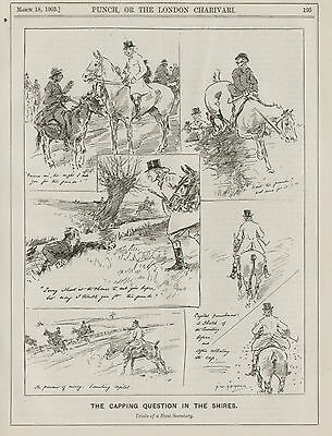 Vintage Cartoon Punch 1903 Fox Hunting Hunt Secretary Capping Fee by Armour 8x10