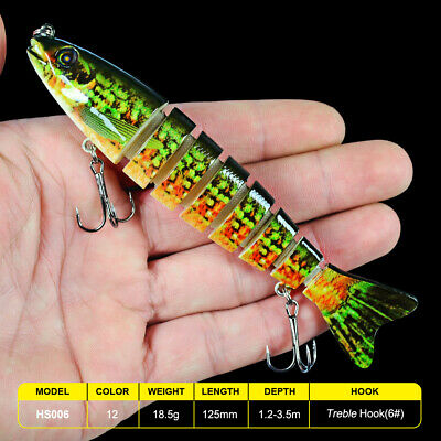 1PC Multi Jointed Fishing Lures Bait Swimbait Life-like 8 Section Sinking Tackle