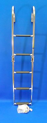 Quality Stainless Steel 5 Step Marine Folding Boarding Ladder - Boat Yacht LS2