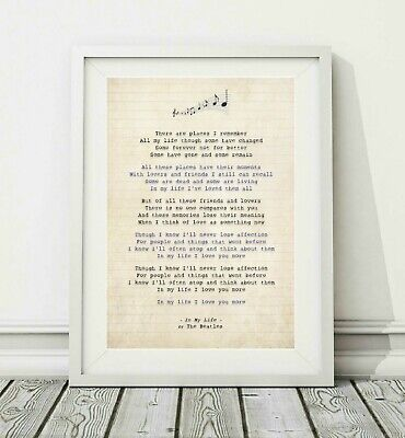 267 The Beatles - In My Life - Song Lyric Art Poster Print - Sizes A4 A3