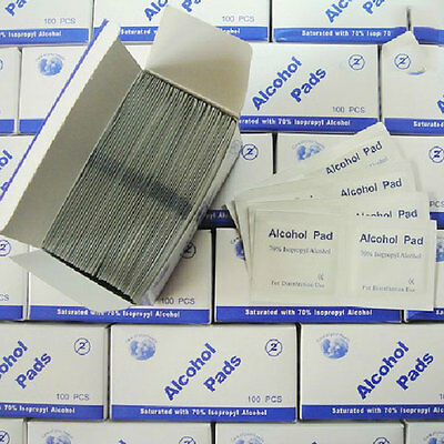 100pcs/Box Alcohol Pads Wipes Skin Cleanser Sterilization 70% Isopropyl
