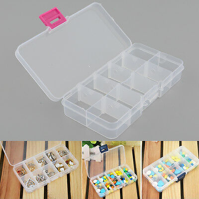 Plastic 10 Slots Jewelry Necklace Earrings Clear Box Case Holder Organizer