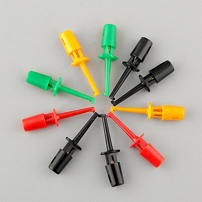 New Multi-color 10 Pcs Mini Test Hook Clip Electronic Testing SMD IC Grabber