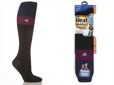 1 Pair Ladies GENUINE Thermal Warm Heat Holders Ski Socks Indigo Fuchsia Black