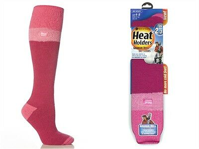 1 Pair Ladies GENUINE Thermal Heat Holders Ski Socks  Pink Light Pink Raspberry