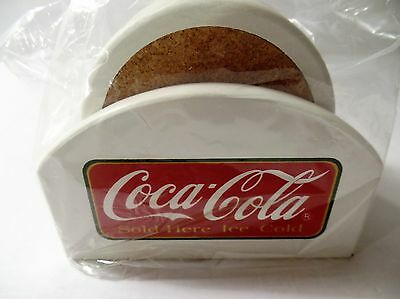 Coca Cola Coasters Set Of 8 With Wooden Holder