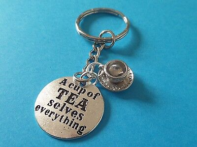 CUP OF TEA SOLVES ... silver charm stamped keyring gift jewellery xmas FREEPOST