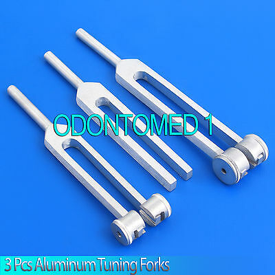 Set of 3 Aluminum Tuning Forks C 128 256 512 Surgical Diagnostic Instruments