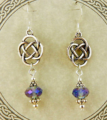 Irish silver Celtic Knot beaded earrings w/ iridescent purple opaque crystals