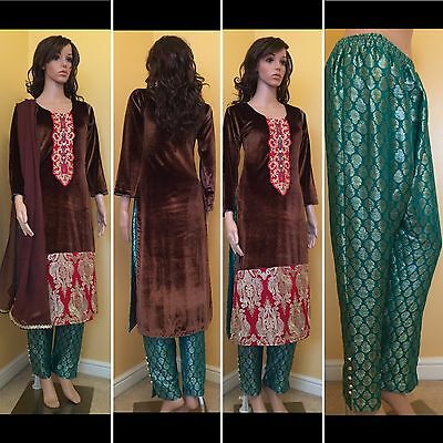 *CLEARANCE*Readymade Asian,Velvet Trouser Suit.UK SIZE -14(bust -42,length-44)