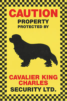 Caution Property Protected By Cavalier King Charles Security Ltd. Dog Pet Sign
