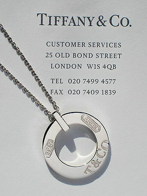 Tiffany & Co Sterling Silver 1837 Circle Charm Pendant 16 Inch Necklace