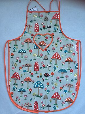 Cath Kidston Women's/adult Apron Handmade In Mushroom Wipe Clean Oilcloth