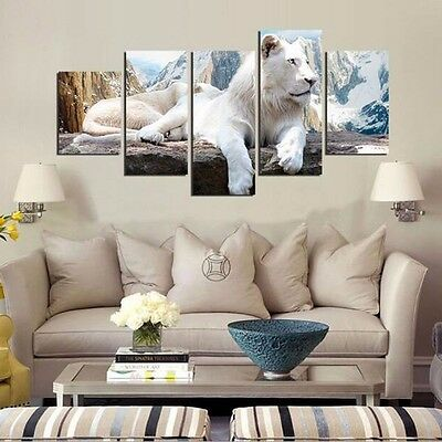 WHITE TIGER - SPLIT FRAMED CANVAS PRINTS !!! Modern Art Painting