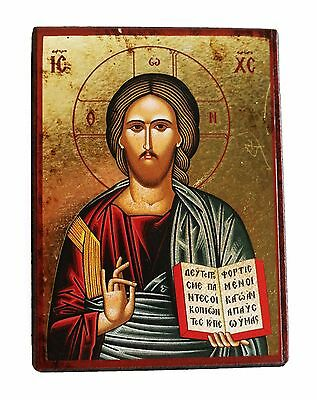 Greek Russian Orthodox Lithography Icon Blessing Christ 9x7cm