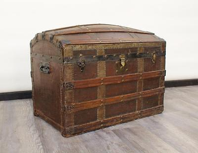 Antique / Vintage Dome Top Trunk / Coffer / Storage Chest / Blanket Box