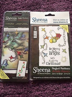 Sheena Douglass A6 Rubber Stamp & Die Set Merry And Bright Twinkling New