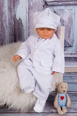 Baby Boy White Christening Suit Pageboy Outfit White Shirt Hat 0-3 M