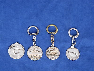 4 French Line Silver Ship Medallions-Key Chains - NAUTIQUES sHiPs WORLDWIDE