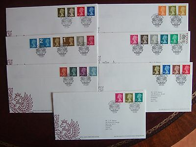 GREAT BRITAIN 2004-09 MACHIN DEFINITIVE 7 x FIRST DAY COVERS HIGH VALS TO £5