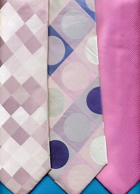 FREE P&P* Pink with Spots in Squares 100% Silk Tie         #4123