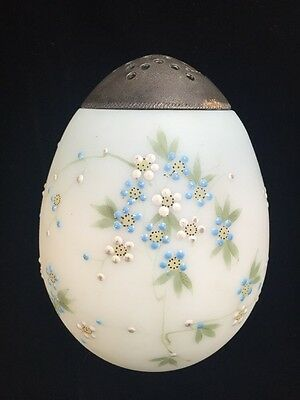 Antique Mt Washington Egg Shape Opal Handpainted Enameled Glass Shaker