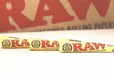 3 Packs Raw Organic King Size Cones 3 cones per pack 9 pre rolled cones Total