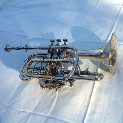 Beautiful Vintage Lyon & Healy Sole Agents Cornet -- Stunning Engraving --