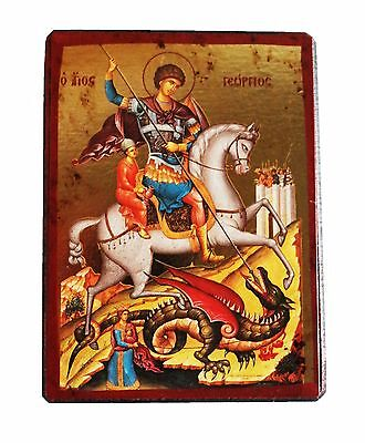Greek Russian Orthodox Lithography Icon St. George 9x7cm