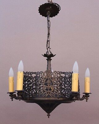 1920s Antique Cast Brass Chandelier w Reticulated Design Spanish Revival (9727)